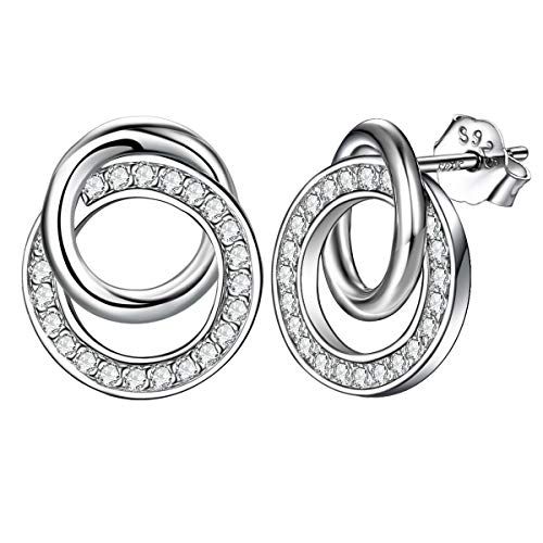ZENI Sterling Silver Stud Earrings for Women Girl Timeless Sweet Love Interlocking Circles Christmas Gift for Her Hypoallergeni