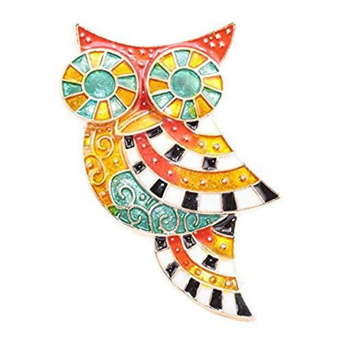 """pricegems Gold Finish Orange Red Teal Green Black White Enamel Large Wise Owl Pin Brooch 2"""""""