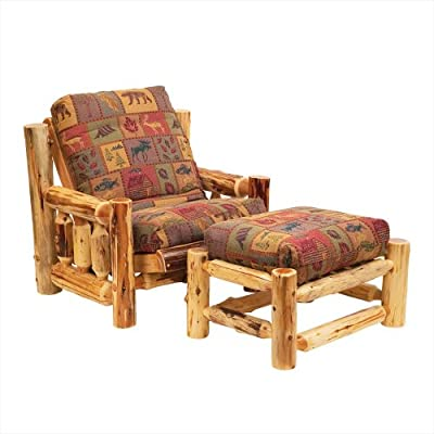 Fireside Lodge Furniture Cedar Hand Crafted Spindle Log Futon Chair With Ottoman, Mattress Set, Custom Covers Available