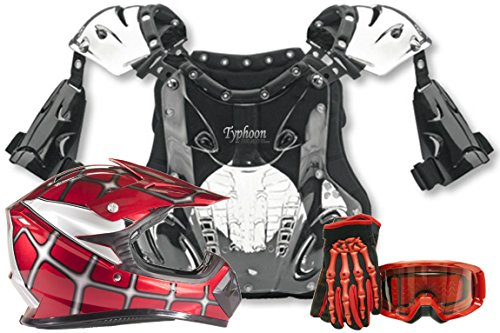 Atv Chest Protector (Youth Kids Peewee Offroad Gear Combo Helmet Gloves Goggles Chest Protector Motocross ATV Dirt Bike Red Spiderman - XL)