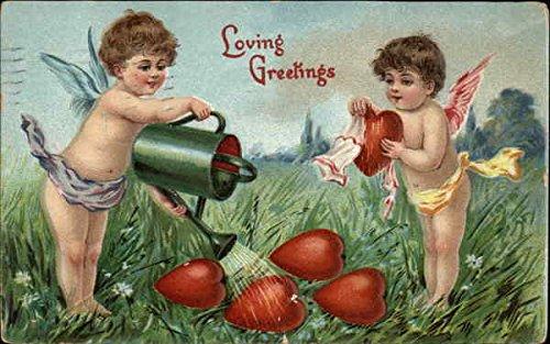 Loving Greetings with Cherubs and Hearts Original Vintage Postcard