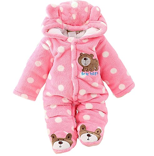 (Gaorui Newborn Baby Jumpsuit Outfit Hoody Coat Winter Infant Rompers Toddler Clothing)