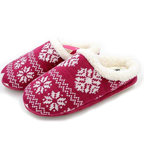 Molletta Stampa Memoria Stile Nordico Carino Millerighe Fresche Scarpe A Righe Stereo A Righe Da Donna In Maglia Pantofole Sherpa Rosa