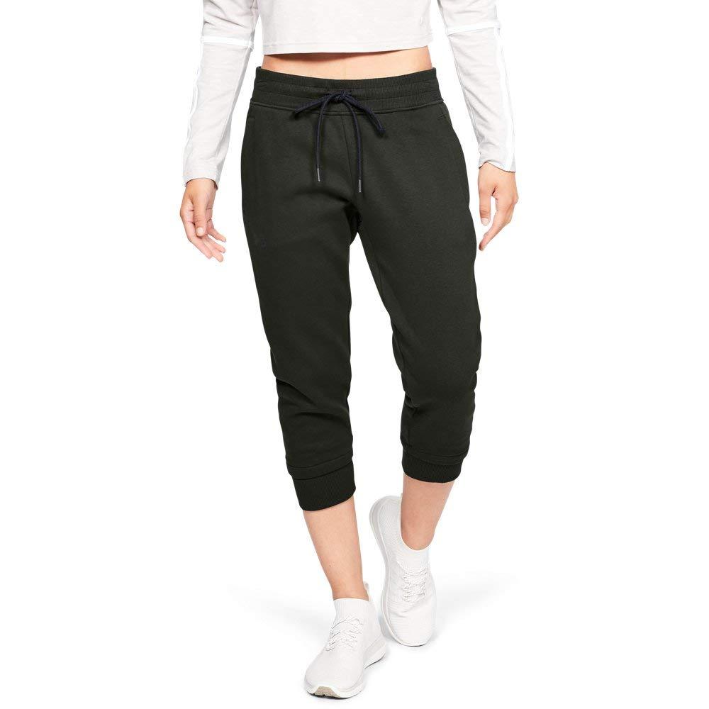 Under Armour Women's Slim Leg Fleece Crop, Artillery Green (357)/Black, X-Small