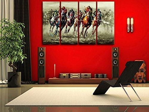 Amazon.com: Huge Contemporary Canvas Print Abstract Horse Racing Art ...