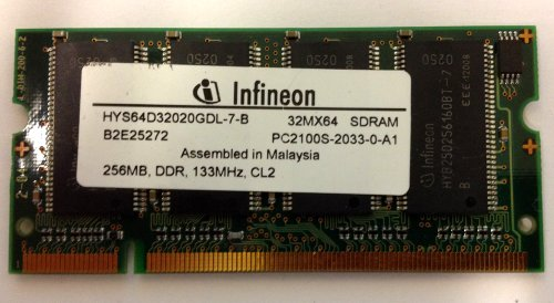 LAPTOP MEMORY, HYS64D32020GDL-7-B 32MX64 SDRAM PC2100S-2033-0-A1, 256MB, DDR, 133MHz, CL2, MALAYSIA