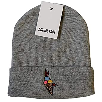 Actual Fact Gucci Mane Ice Cream Hip Hop Grey Roll Up Wooly Beanie ... 2fa6af96df0