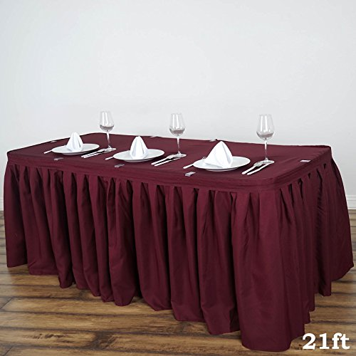 BalsaCircle 21 feet x 29-Inch Burgundy Polyester Banquet Table Skirt Linens Wedding Party Events Decorations Kitchen Dining (Skirt Table Burgundy)