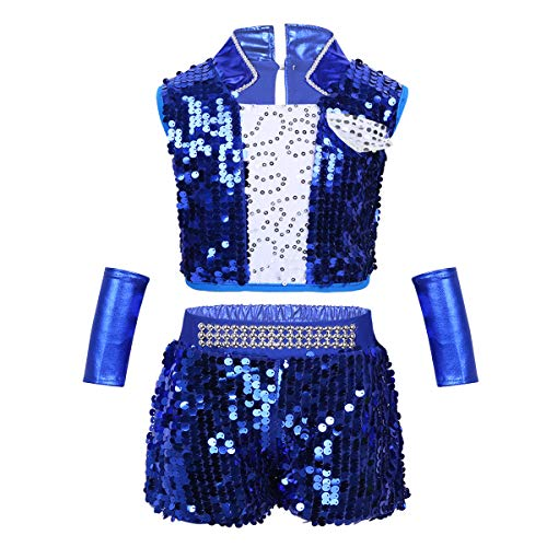 iEFiEL Kids Girls Sequins Hip Hop Modern Jazz Street Dance Costume Children Stage Performances Dress Outfit Blue Unisex 8-10]()