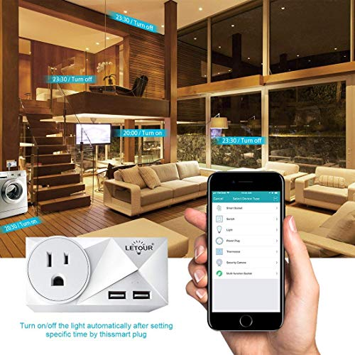 LETOUR Smart wifi Outlets New Upgraded Smart Power Plug,WiFi Wireless Power Outlet with,Compatible with Alexa, Echo & Google Home (C318A)