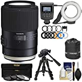 Tamron SP 90mm f/2.8 Di VC USD Macro 1:1 Lens with Ring Light + Macro Tripod + 3 UV/CPL/ND8 Filters + Pouch + Kit for Nikon DSLR Cameras