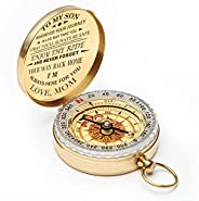wastreake Mom to Son Compass, Enjoy The Ride Compass Hiking Camping Hunting Outdoor Military Navigation Tool f