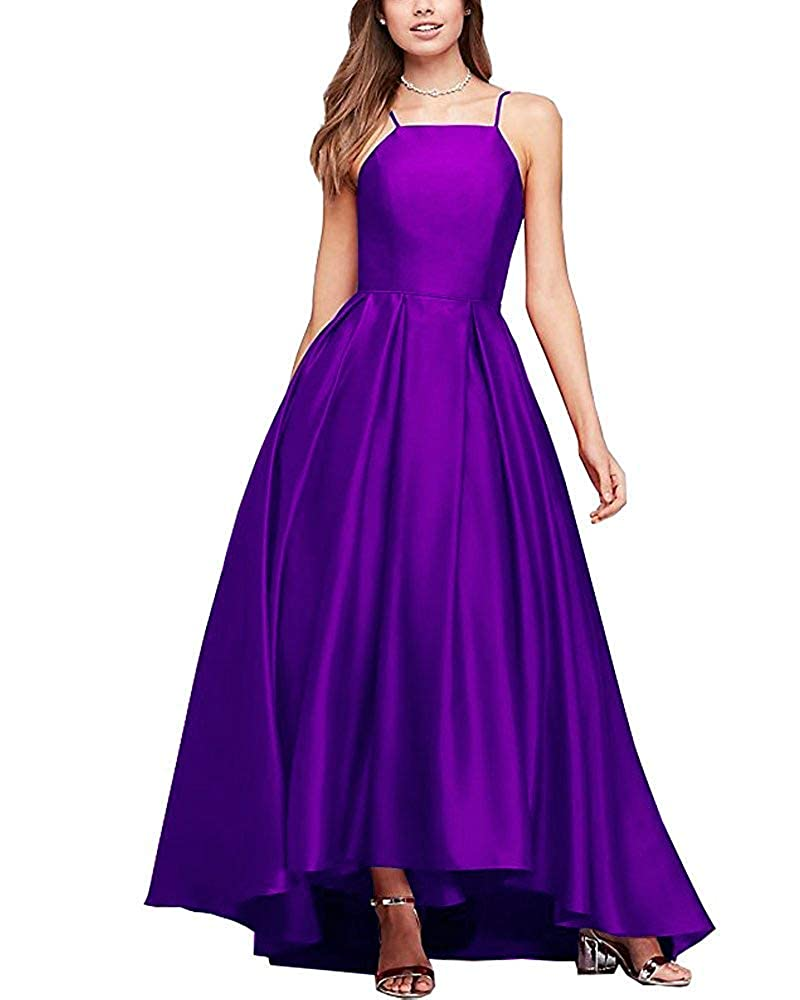 Purple Gorgeous High Neck Satin Ball Gown Bridesmaid Dresses Prom Gown Maxi Skirt