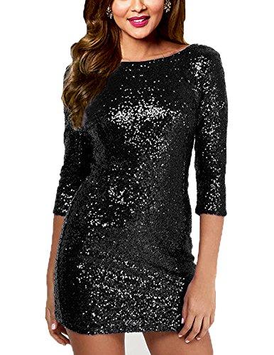 - SUJAN Women's Dresses Sequins 3 Quarters Sleeves Scoop Neck Mini Gown Black XS