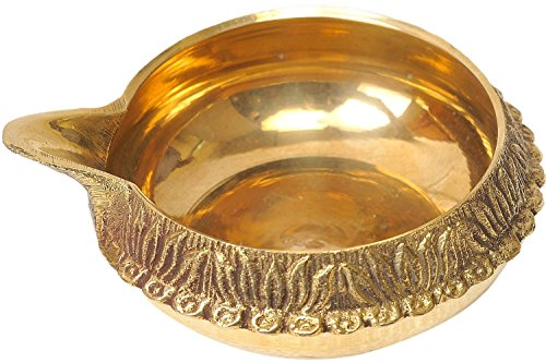 Brass Handcrafted Diwali Puja Oil Lamp Diya, Hindu Religious Gift Antique Handmade Engraved Oil Lamp, Religious Accessory for Prayer Room, Akhand Jyoti, Kuber Diya with (Religious Accessories)