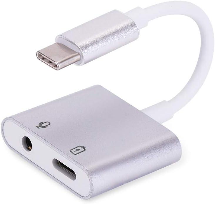 Adaptador USB C para auriculares con puerto de carga 2 en 1 USB tipo C 3,5 mm adaptador USB C Aux para Huawei P30 Pro, P20 Pro, P20, Mate 20 Pro,OnePlus 7 Pro,Xiaomi Mi 9,Mi 8,Mi A2,Mix 2S – Plata