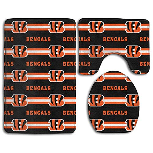 zhong-LRS.guo !!! Custom Colorful Doormat American Football Team Cincinnati Bengals Indoor Bathroom Anti-Skid Mats,3 Piece Non-Slip Bathroom Rugs,Non-Slip Mat Bath + Contour + Toilet - Rubber Cincinnati Bengals