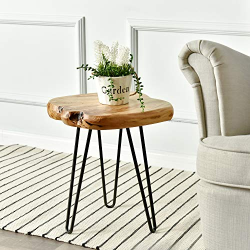 (WELLAND Live Edge Side Table with Hairpin Legs, Natural Edge Side Table, Small Nightstand Wood, 15.5