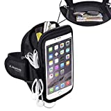 Avantree Sweatproof Neoprene Armband for Big Phones, iPhone 6 6S Plus, Samsung Galaxy S5, Google Nexus 6P, with key holder and card pouch, for Running Gym Jogging Exercise Sports Workout - Trackpouch