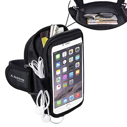 Avantree Water Resistant iPhone 6 / 6S / 7 / 8 Plus Sports Running Armband with Key Holder / Card Pouch, 5.5 Inch for Samsung Galaxy S6 Note 7 5, Google Nexus 6P - Trackpouch V2 [Longer (Sport Sheath)