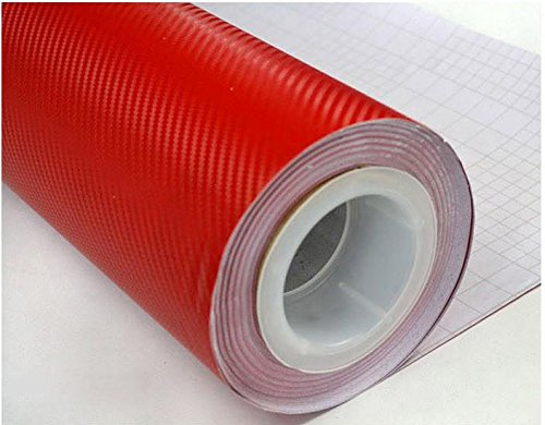 Red 3D Carbon Fiber Film Twill Weave Vinyl Sheet Roll Wrap (12