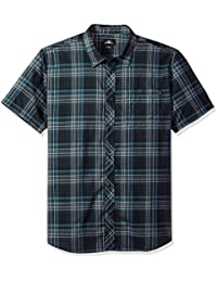Men's Standard Fit Plaid Short Sleeve Stretch Woven