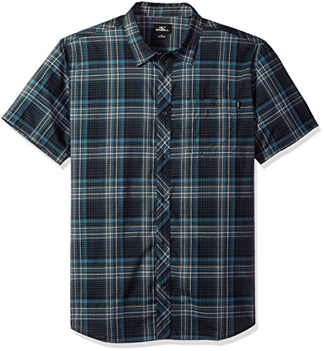 O'Neill Men's Standard Fit Plaid Short Sleeve Stretch Woven Shirt, Sturghill Dark Navy, (Button Down Stretch Woven Shirt)