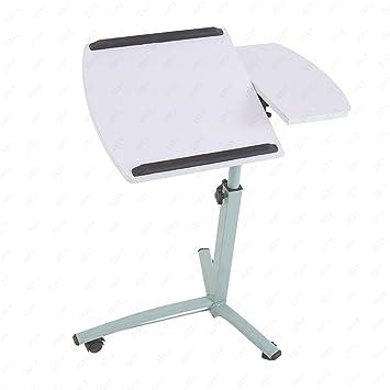 uenjoy ruedas para ordenador portátil mesa mesa para cama escritorio TV bandeja de alimentos Hospital PC inclinación de mesa, color blanco 3 wheels: ...