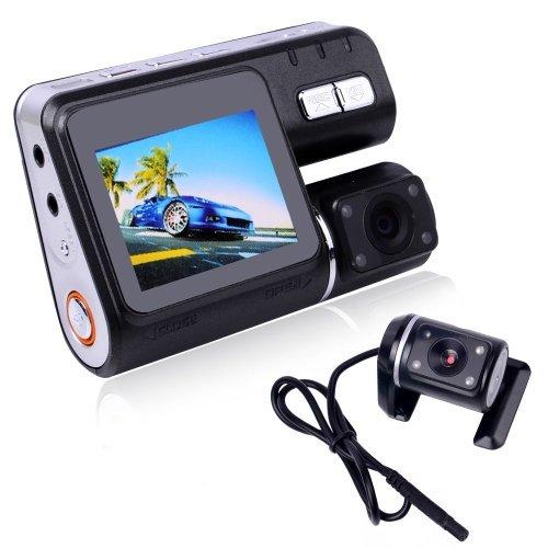 DBPOWER HD 1280720 X2 Dual Lens Dashboard Car Vehicle Camera Video Recorder DVR G-sensor(With 16GB TF Card)