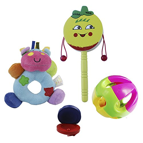 Baby's First Wrist Rattle Learning Stuffed Animal Hand Be...