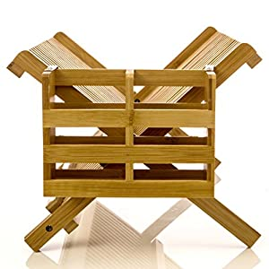 Intriom Bamboo Dish Rack With Utensil Holder Set Scissor Style Foldable (Dish Rack)