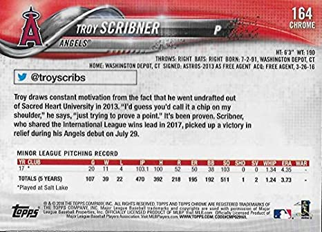 f6eb5fc2f3b Amazon.com  2018 Topps Chrome Baseball  164 Troy Scribner RC Angels   Collectibles   Fine Art