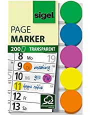 SIGEL HN301 Marcapáginas adhesivos en cinta de filme transparente, 200 tiras de 50 x 15 mm, 5 colores