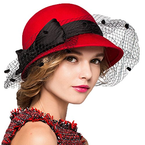 - Maitose&Trade; Women's Bow Wool Felt Bowler Veil Hat Red