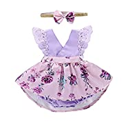 PROBABY Toddler Baby Girl Clothes Floral Dress Lace Ruffle Sleeve Romper with Headband Outfit (0-6 Months, Purple)