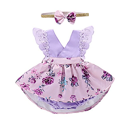 Dress Onesie Baby (PROBABY Toddler Baby Girl Clothes Floral Dress Lace Ruffle Sleeve Romper with Headband Outfit (6-12 Months, Purple))
