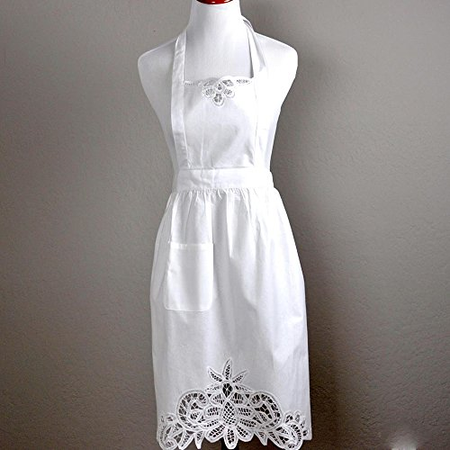 Bumblebee linens 100 warn reviewmeta white ladies full battenburg lace hostess apron from bumblebee linens junglespirit Choice Image