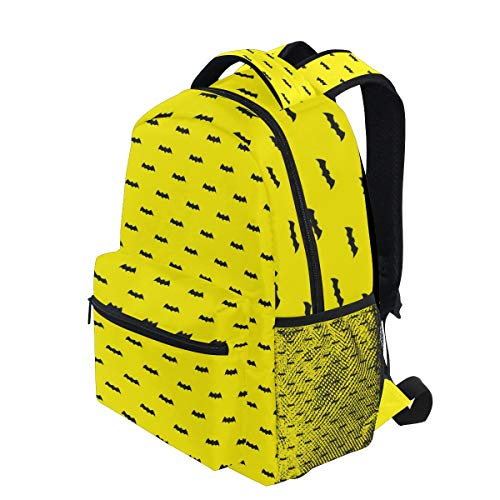 KUDOUXIA School Backpack Bat Halloween Pattern Wallpaper Background Yellow 1st Grade Lightweight Bookbag Daypack Fits Small Laptop for Kids Teens Travel Bag with 2 Side Pouchs Adorable 16