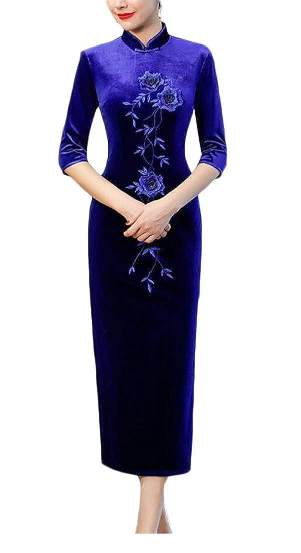 4 GenericWomen Velvet Elegant 3 4 Sleeve Cheongsam Qipao Slim Side Split Dress