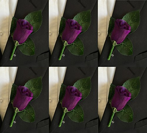 Purple Roses Wedding (Set of 6 Purple Rose Boutonniere with Pin for Prom, Party, Wedding)