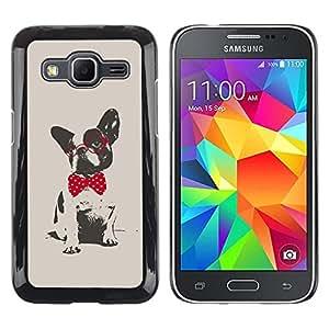FlareStar Colour Printing Boston Terrier Pug Polka Dot Red Grey cáscara Funda Case Caso de plástico para Samsung Galaxy Core Prime / SM-G360