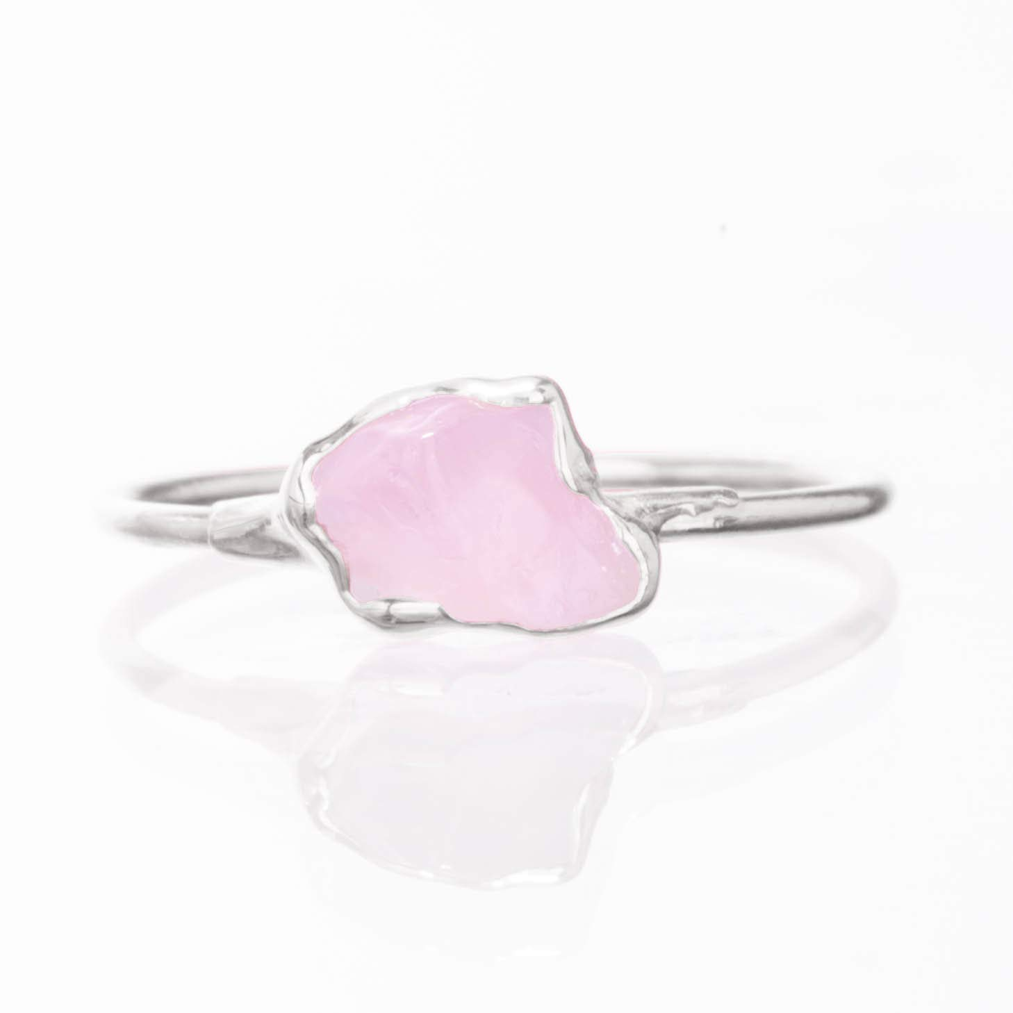 Size 6 Sterling Silver January Birthstone Dainty Raw Rose Quartz Ring