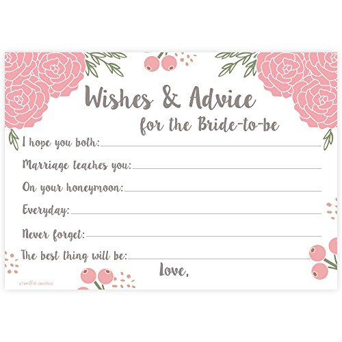 Scrapbook Recipe Cards - Pink Blossoms Floral Bridal Wishes and Advice for Bride to Be (50 Count) Bridal Shower Activity/Game