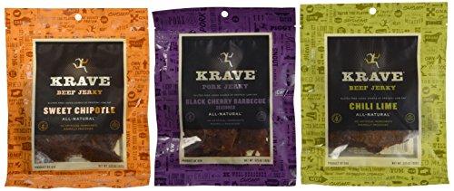 Krave Gluten Free All-Natural Jerky 3 Flavor Variety Bundle: