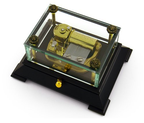 Exclusive 30 Note Crystal Music Box with Contemporary Wooden Base - Scarborough Fair by MusicBoxAttic