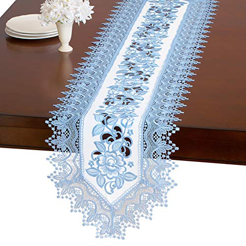 - Collections Etc Elegant Floral Rose and Lace Embroidered Table Linens, Periwinkle, Runner