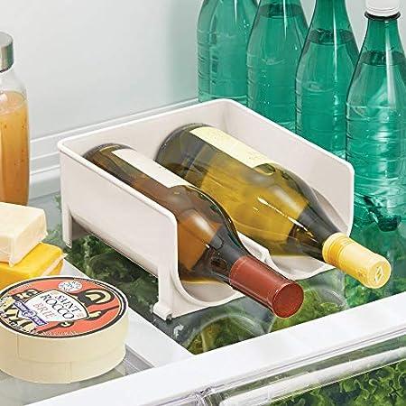 mDesign Moderno Estante para Botellas – Botellero apilable para Botellas de Agua y cantimploras – Elegante vinoteca para la Cocina y la despensa – Crema/Beige