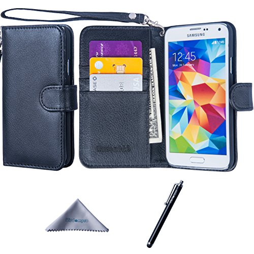 Galaxy S5 Case, Wisdompro Premium PU Leather 2-in-1 Protective Flip/Folio Wallet Case with Multiple Credit Card/ID Card Holder/Slots and Wrist Lanyard for Samsung Galaxy S5 -Black with Lanyard