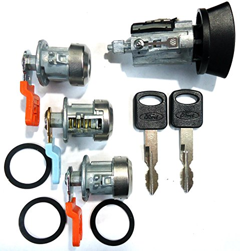 Ford Cylinder (LC6177 Ford Ignition Switch Lock Cylinder + Three (3) Door Lock Cylinder W/2 Logo Keys)