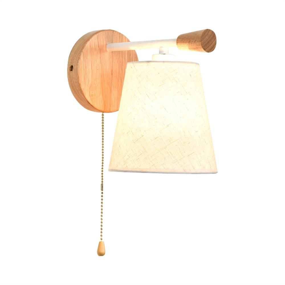 Weiß Nordic Stoff Wandleuchte Schlafzimmer Nachttischlampe Massivholz Kreative Pull Schalter Arbeitszimmer LED Leseauge Wandleuchte (Farbe   Weiß)